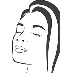 Silhouette lines of the womans face isolated on wh vector image