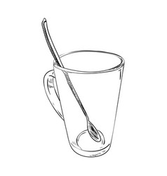 sketch of glass cup with spoon vector image
