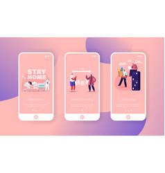Social distancing mobile app page onboard screen vector