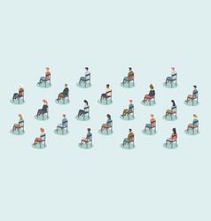 Social distancing on public events vector