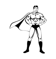 Superhero in black and white vector