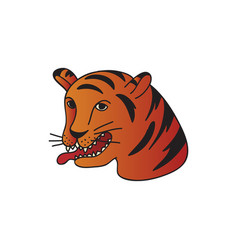 Tiger tattoo on white background flat vector