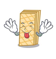 Tongue out waffle mascot cartoon style vector