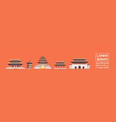 Traditional korea palaces set south korean temples vector