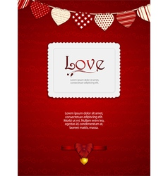 valentine heart card with ribbon and sample text vector image