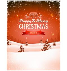 vintage christmas landscape background vector image