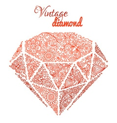 Vintage floral diamond vector