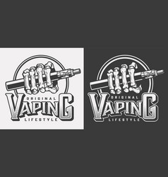 Vintage vaping logotypes vector