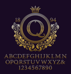 Wavy patterned gold letters numbers with monogram vector