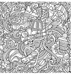 winter sports hand drawn doodles seamless pattern vector image