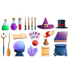 Wizard tools icons set cartoon style vector