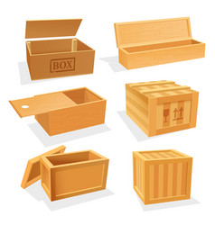 Wooden and plywood boxes or cases set vector