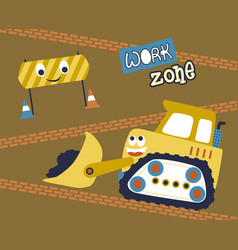 Work zone with funny construction vehicle and vector