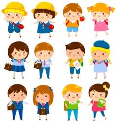 cute school kids vector image vector image