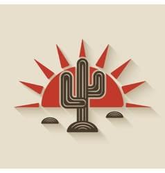 Desert cactus at sunset vector image vector image