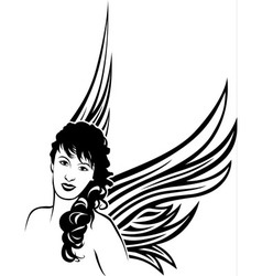 Girl angel tattoo stencil vector image