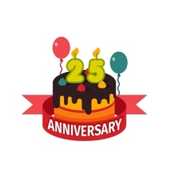 Happy twenty fifth birthday badge icon vector
