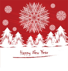 New Years card or invitation with snowflakes vector image