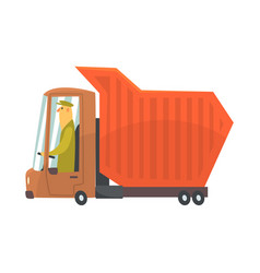 orange heavy duty dump truck freight transport vector image vector image
