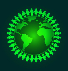 people holding hands around the wold vector image