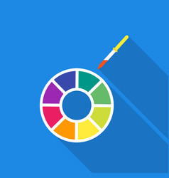 color wheel icon in flate style isolated on white vector image