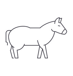 donkey line icon sign on vector image vector image