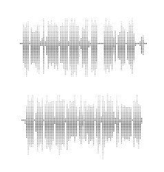 Halftone square elements sound waves vector image vector image
