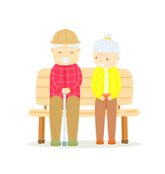 older couple sitting on bench happy old man vector image
