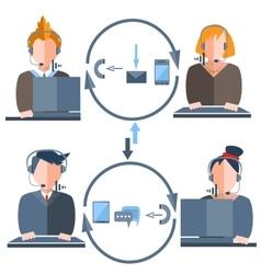 People call center gadgets arrow man woman vector image vector image
