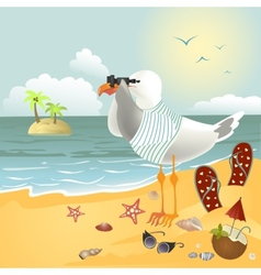 Seagull on the beach looking through binoculars vector image