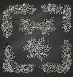 Set of chalk holly berries page decorations and vector image vector image