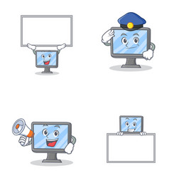set of monitor character with bring board police vector image vector image