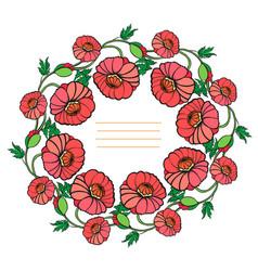 decorative wreath of poppies vector image