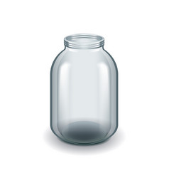 empty three-liter glass jar isolated on white vector image vector image