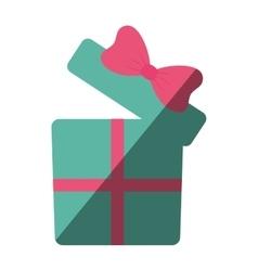 green gift box with pink ribbon color shadow vector image vector image