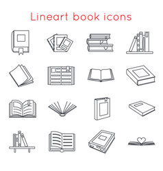 lineart book icons symbols logos set template for vector image vector image