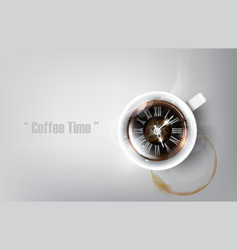 realistic cup of black coffee coffee time concept vector image
