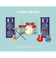 Rock band musical instruments in flat style vector image vector image