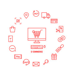 thin line red icons for e-commerce vector image