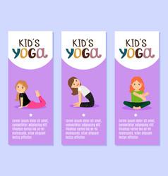 yoga kids flyers design with girls vector image