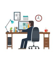 designer in the workplace workstation vector image vector image