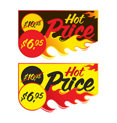 hot price flaming labels stickers banners vector image