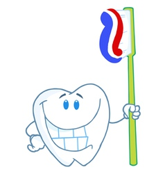 Smiling Tooth Cartoon Character With Toothbrush vector image