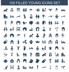 100 young icons vector image