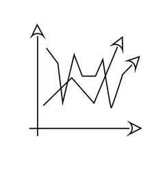 2 line chart icon vector image