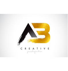 Ab letter design with brush stroke and modern 3d vector