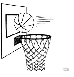 Action of basket ball and vector