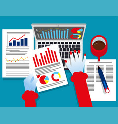 Analyst business auditor working on statistical vector