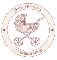 Baby-friendly-pink-sticker vector image