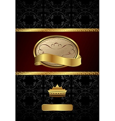 background with golden luxury label and crown vector image
